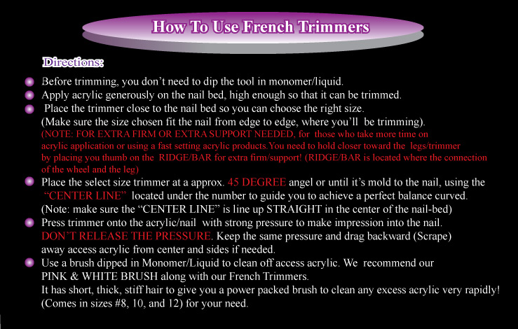 Direction how to use french trimmers